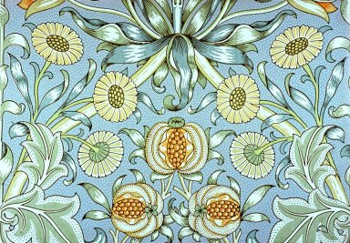 Lily and Pomegranate Wallpaper Series: Blue