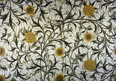Scroll and Flower Wallpaper Series: Light Green