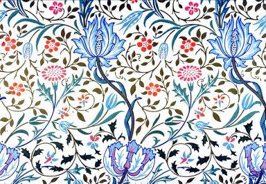Flora Wallpaper Series: Blue on White