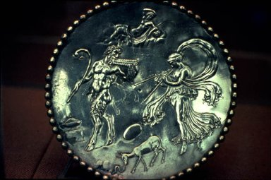 Plate with Satyr and Maenad