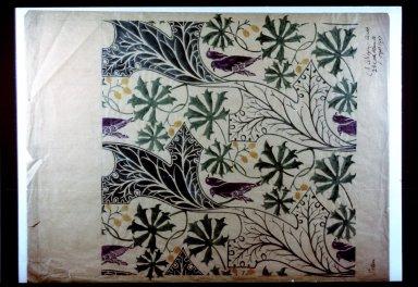 Wallpaper Design: Pair of Birds Among Leaves