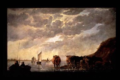 Herdsman with Five Cows by River