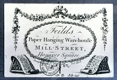 Trade Card for Field's Paper Hanging Warehouse