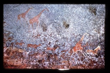 Giraffes, Zebras, Kudus and Human Figures