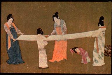 Ladies Preparing Newly Woven Silk
