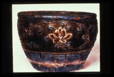 Fish Bowl with Floral Relief