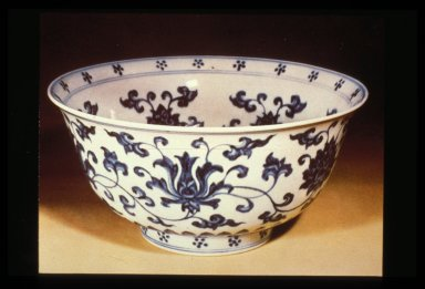 Bowl, Blue and White: Floral Motif