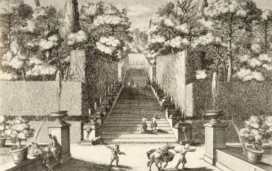 Engraving of the Stairs of the Bubbling Fountains (at Villa d'Este)