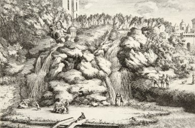 Engraving of the Cascade at the Fountain of Rome (at Villa d'Este)