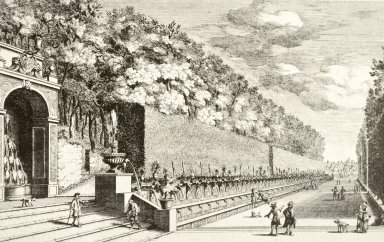Engraving of the Alley of the Hundred Fountains (at Villa d'Este)