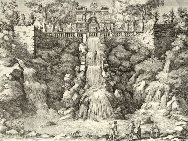 Engraving of the Cascade of the Water Organ (at Villa d'Este)