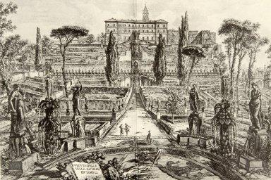 Etching of Villa d'Este (Veduta della Villa Estense in Tivoli)