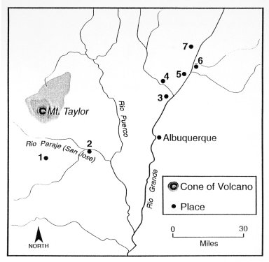 Map of Mount Taylor, New Mexico, with the Pueblos of Keresan People