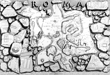 Map of Ancient Rome with Plans of Historic Sites