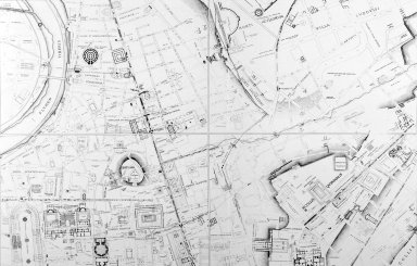 Map of Ancient Rome in the Area of the Campus Martius, Pincian Hill, and Quirinal