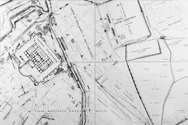 Map of Ancient Rome in the Area of the Baths of Diocletian and the Castro Pretorio