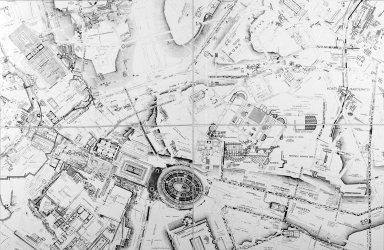 Map of Ancient Rome in the Area of the Palatine and Esquiline Hills