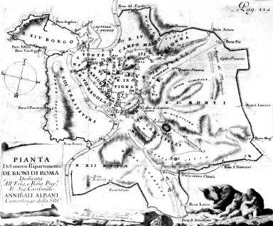 Map of System of Roman Rioni (Regions) in the 18th Century