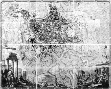 Map of Rome in the 18th Century with a Dedication to Pope Benedict XIV