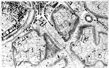 Map of 18th Century Rome in the Area of the Trastevere, the Aventine Hill, and the Colosseum