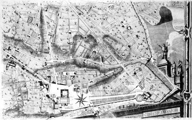 Map of 18th Century Rome in the Area of Santa Croce in Gerusalemme with an Illustration of the Facade of San Giovanni in Laterano