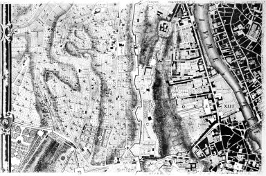 Map of 18th Century Rome in the Area of the Gianicolo Hill and Via della Lungara