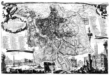 Map of 18th Century Rome with Illustrations of Saint Peter's Square and the Palazzo dei Conservatori