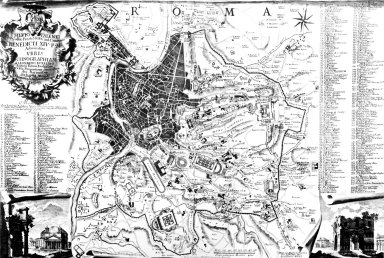Map of 18th Century Rome with an Illustration of the Pantheon