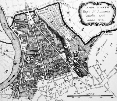 Map of 18th Century Rome: Campus Martius (4th Rione)