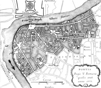 Map of 18th Century Rome: Ponte (5th Rione)