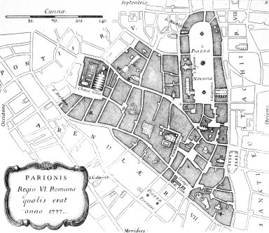 Map of 18th Century Rome: Parione (6th Rione)