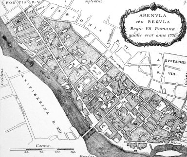 Map of 18th Century Rome: Arenula (7th Rione)