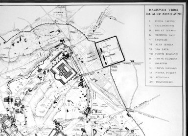 Map of Ancient Rome in the Area of the Quirinal and Viminal Hills