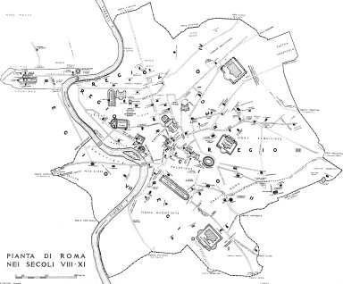 Map of Rome in the 8th-9th Century
