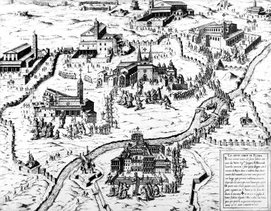 Map with the Seven Churches of Rome: San Lorenzo Fuori le Mura, Santa Maria Maggiore, Santa Croce, San Giovanni Laterano, Saint Peter's Basilica, Saint Sebastian, and Saint Paul Outside the Walls