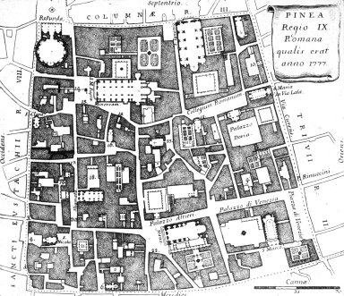 Map of 18th Century Rome: Pigna (9th Rione)
