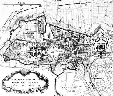 Map of 18th Century Rome: Borgo (14th Rione)