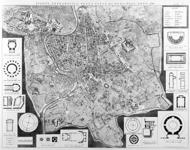 Map of 19th Century Rome with Plans of Important Sites