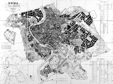 Map of 19th Century Rome Showing the Progress of City Planning