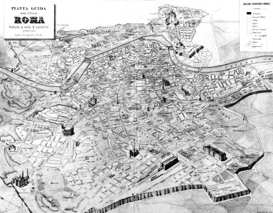 Bird's Eye View Map of 19th Century Rome