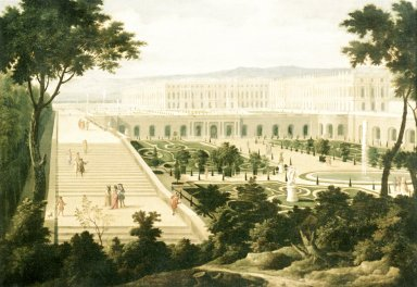 View of the Orangerie, the Staircase of One Hundred Steps and the Palace of Versailles