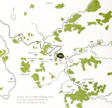 Map of Gardens Le Notre Designed Outside of Paris