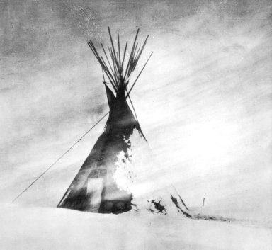 Blackfoot Tipi in a Snowstorm