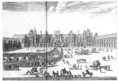 Arrival of Louis XIV in the Cour du Cheval Blanc, Fontainebleau