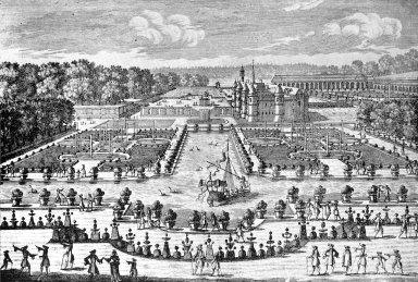 View of the Chateau de Chantilly with the Parterres and Canal