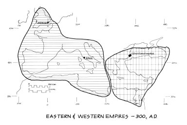 Map of the Eastern and Western Empires, ca. 300 CE