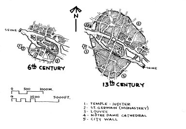 Maps of Paris in the 6th and 13th Centuries