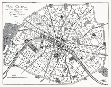 Map of Paris with Plan Proposed by M. Eugene Henard