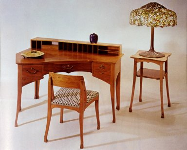 Desk, Chair, Table, and Tiffany Lamp