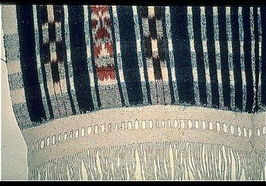 Rare Woolen Warp Ikat in Fringed Blanket